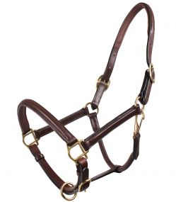 Head collar leather delicate Dark brown Full