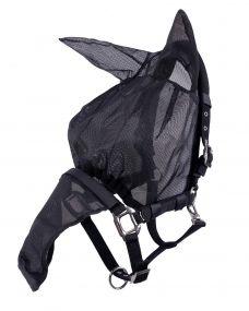 Halster-vliegenkap combi met oren Zwart Full