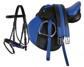 Complete saddle set Blue/black Pony
