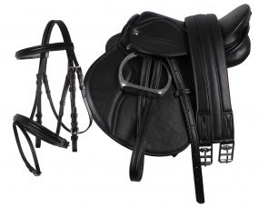 Complete saddle set Black Pony