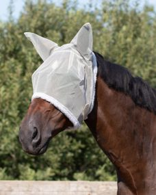 Fly mask with ear protection Grey Extra full