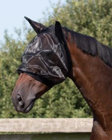Fly mask with ear protection fine Black Extra full