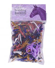 Rubber braiding bands wide Mix colors 50gr