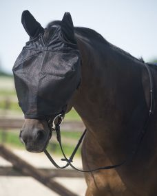 Riding fly mask with ear protection Black Full
