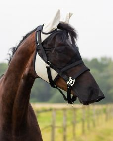 Fly mask with detachable nose flap Beige Extra full
