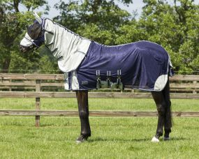 Anti-fly rug with neck and hood Blue 225