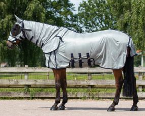 Anti-fly rug with neck and hood Grey 225