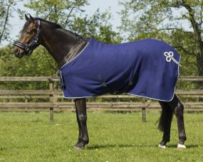 Fleece rug with ornament Navy/silver 215
