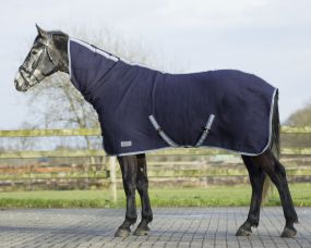 QHP Wool Rug with Neck Blue 215