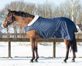 Stable rug 200gr with shoulder cut out Navy/tetrise 215
