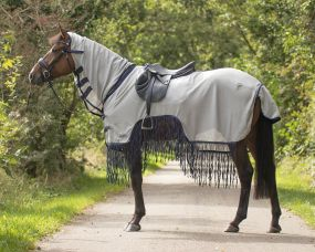 Exercise fly sheet with fringes Grey 215