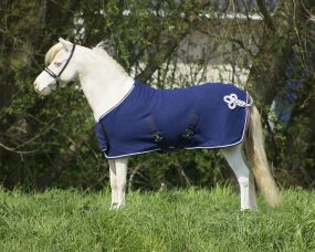 Fleece rug with ornament falabella Blue/silver 115