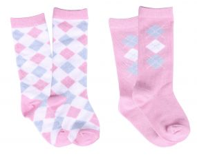Baby socks Check (set of 2) Light pink 6-12m