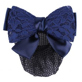 Hair bow Lace Navy