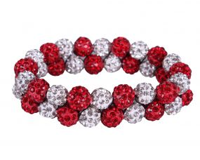 Hair scrunchie Strass Red/white