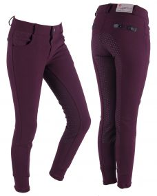 Breeches Charlene Junior anti-slip full seat Aubergine 176
